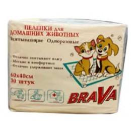 Brava Пеленки для кошек и собак одноразовые 60*40 30шт