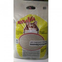 BRAVA 15 л. наполнитель для кошачьих туалетов минеральный для гладкошерстных впитывающий желтый