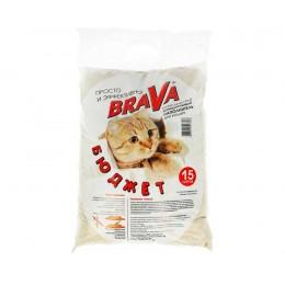 BRAVA Бюджет наполнитель минеральный впитывающий для кошачьих туалетов 15л
