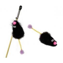 GoSi Игрушка дразнилка Мышь с хвостом трубочка