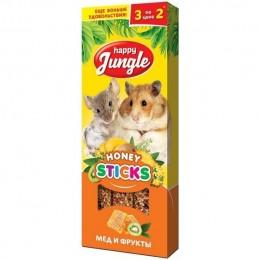 Happy Jungle Палочки Для мелких грызунов Мед Фрукты 3шт 90гр.