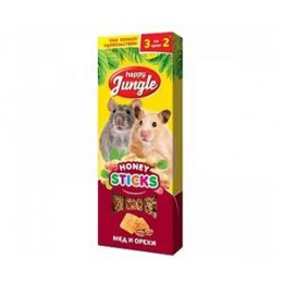 Happy Jungle Палочки для мелких грызунов Мед Орехи 3шт 90гр.