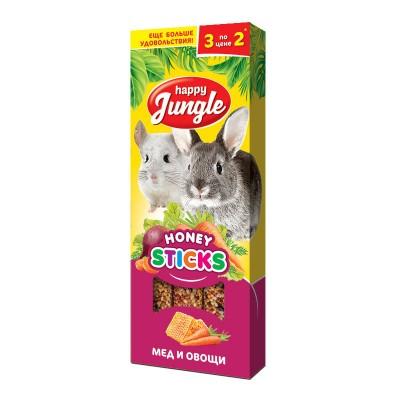 Happy Jungle лакомство палочки для крупных грызунов мед и овощи 3шт. J214