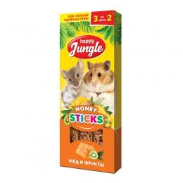 Happy Jungle лакомство палочки для мелких грызунов мед и фрукты 90г 3 шт.  J213