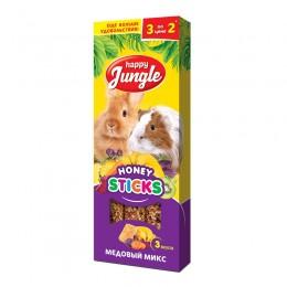 Happy Jungle лакомство палочки для крупных грызунов медовый микс 90г 3шт.  J215