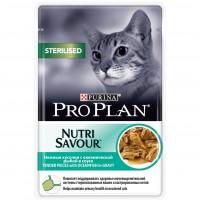 Влажный корм Pro Plan Nutri Savour для взрослых стерилизованных кошек и кастрированных котов с океанической рыбой в соусе, 85гр.